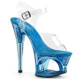 Blå 18 cm MOON-708GFT glitter plateau sandaler sko