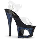 Blå 18 cm MOON-708HSP Hologram plateau high heels sko