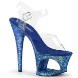 Blå 18 cm MOON-708LG glitter plateau high heels sko