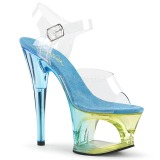 Blå 18 cm MOON-708MCT Akryl plateau high heels sko