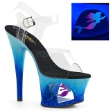 Blå 18 cm MOON-708MER Neon plateau high heels sko