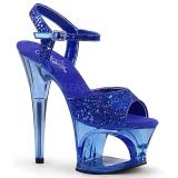 Blå 18 cm MOON-710GT glitter plateau high heels sko