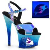 Blå 18 cm MOON-711MER Neon plateau high heels sko