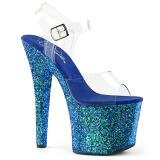 Blå 18 cm RADIANT-708LG glitter plateau high heels sko