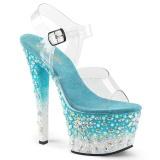 Blå 18 cm SKY-308FISH plateau høje hæle med strass sten