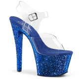 Blå 18 cm SKY-308LG glitter plateau high heels sko