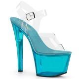 Blå 18 cm SKY-308T-2 Akryl plateau high heels sko