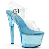 Blå 18 cm SKY-308T Akryl plateau high heels sko