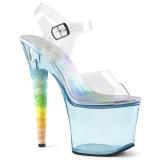 Blå 18 cm UNICORN-708T Akryl plateau high heels sko