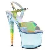 Blå 18 cm UNICORN-711T Akryl plateau high heels sko