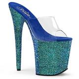 Blå 20 cm FLAMINGO-801LG glitter plateau mules damer med hæl
