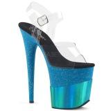 Blå 20 cm FLAMINGO-808-2HGM glitter plateau sandaler sko