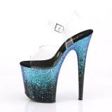 Blå 20 cm FLAMINGO-808SS glitter plateau sandaler sko