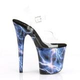 Blå 20 cm FLAMINGO-808STORM Hologram plateau high heels sko
