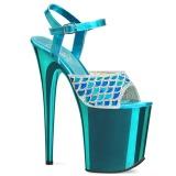 Blå 20 cm FLAMINGO-809MMRS glitter plateau sandaler sko