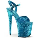 Blå 20 cm FLAMINGO-810LG glitter plateau high heels sko