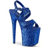 Blå 20 cm FLAMINGO-897LG glitter plateau high heels sko