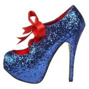 Blå Glimmer 14,5 cm TEEZE-10G Concealed burlesque spidse pumps med stiletter hæle