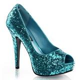Blå Glitter 13,5 cm TWINKLE-18G Peep Toe Pumps Plateau