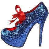 Blå Glitter 14,5 cm Burlesque TEEZE-10G Platform Pumps Sko