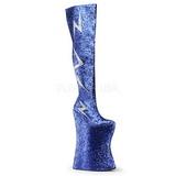 Blå Glitter 34 cm VIVACIOUS-3016 Overknee Støvler til Drag Queen