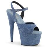 Blå Kunstlæder 18 cm ADORE-709WR højhælede sandaler til kvinder