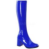 Blå Lakeret 8,5 cm GOGO-300 Høje Damestøvler til Mænd