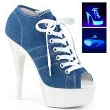 Blå Neon 15 cm DELIGHT-600SK-01 canvas sneakers med høje hæle