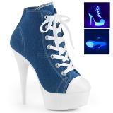 Blå Neon 15 cm DELIGHT-600SK-02 canvas sneakers med høje hæle