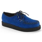 Blå Ruskind 2,5 cm CREEPER-602S Plateau Creepers Sko til Mænd
