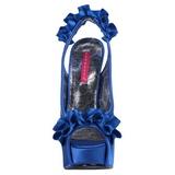 Blå Satin 14,5 cm Burlesque TEEZE-56 Plateau Højhælede Sandaler Sko