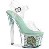Blå gennemsigtig 18 cm SKY-308CF højhælede sko - pole dance sko