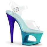 Blå glimmer 18 cm Pleaser MOON-708OMBRE poledance sko
