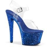 Blå glimmer 18 cm Pleaser SKY-308LG poledance sko