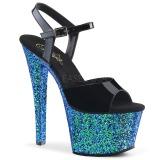 Blå glimmer 18 cm Pleaser SKY-309LG poledance sko