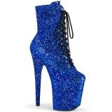 Blå glitter 20 cm FLAMINGO-1020GWR højhælede ankelstøvler - pole dance støvletter