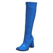 Blå laklæder støvler blokhæl 7,5 cm - 70 erne hippie disco boots knæhøje - patent læder støvler