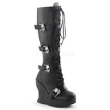 Black 13 cm BRAVO-109 Platform Wedge Knee Boots