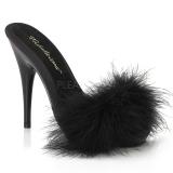 Black 13 cm POISE-501F Marabou Feathers Mules Shoes