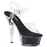 Black 15 cm KISS-208GF glitter platform sandals shoes