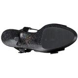 Black 15 cm KISS-209MG High Heels Glitter Platform