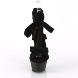 Black 15 cm KISS-274 knee high womens gladiator sandals
