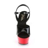 Black 15 cm Pleaser KISS-209 Red Platform High Heels