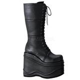 Black 15 cm WAVE-302 lolita knee boots goth platform boots