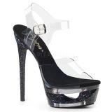 Black 16,5 cm ECLIPSE-608GT High Heeled Stiletto Sandals