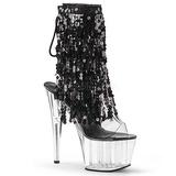 Black 18 cm ADORE-1017SQF sequins fringe ankle boots