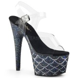 Black 18 cm ADORE-708MSLG glitter platform sandals shoes
