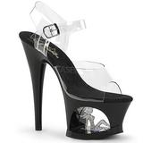 Black 18 cm MOON-708TG Platform High Heels Shoes