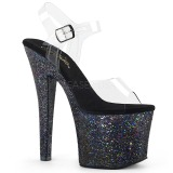 Black 18 cm RADIANT-708LG glitter high heels shoes