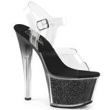 Black 18 cm SKY-308G-T glitter platform sandals shoes